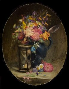 Image of Flowers and an Hourglass