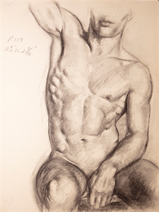 Image of Study of male figure nude sitting